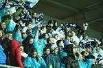 Fanoušci Slovácka slaví gól na 1:2