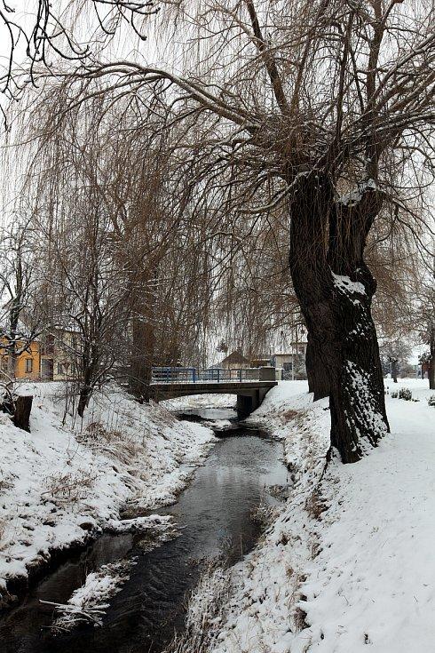 Horní Němčí v únoru 2021. Potok Okluky