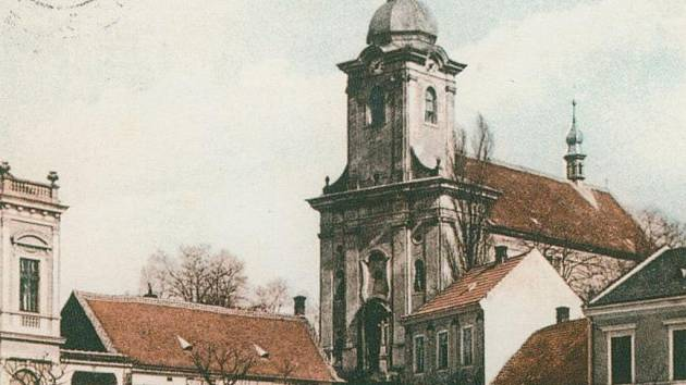 Pohlednice kostela ve Bzenci z roku 1910