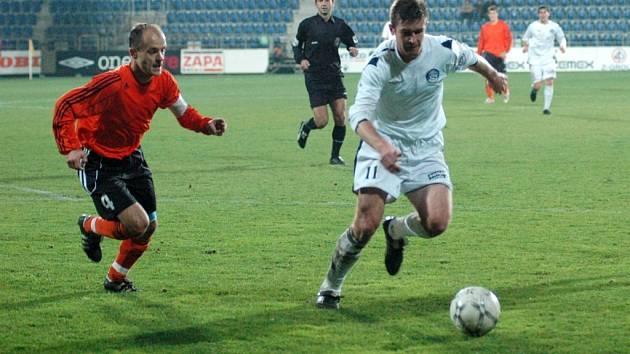 Fulnecký kapitán Tomáš Vajda (vlevo) oblékal v Uherském Hradišti ještě dres Synotu. Kabinu s ním sdílel i útočník Slovácka Václav Činčala (vpravo).