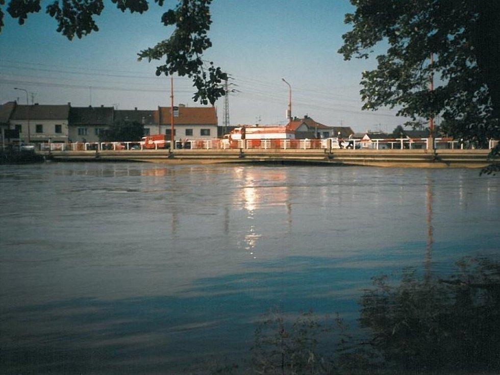 Pohled na rozvodněnou řeku Moravu.