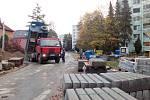 Opravy ulice 28. října v Uherském Hradišti.