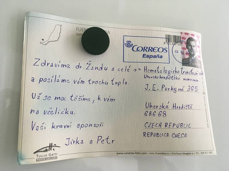 """Věrní dárci nezapomínají na svou """"transfúzku"""" v Nemocnici Uherské Hradišti ani o dovolené."""