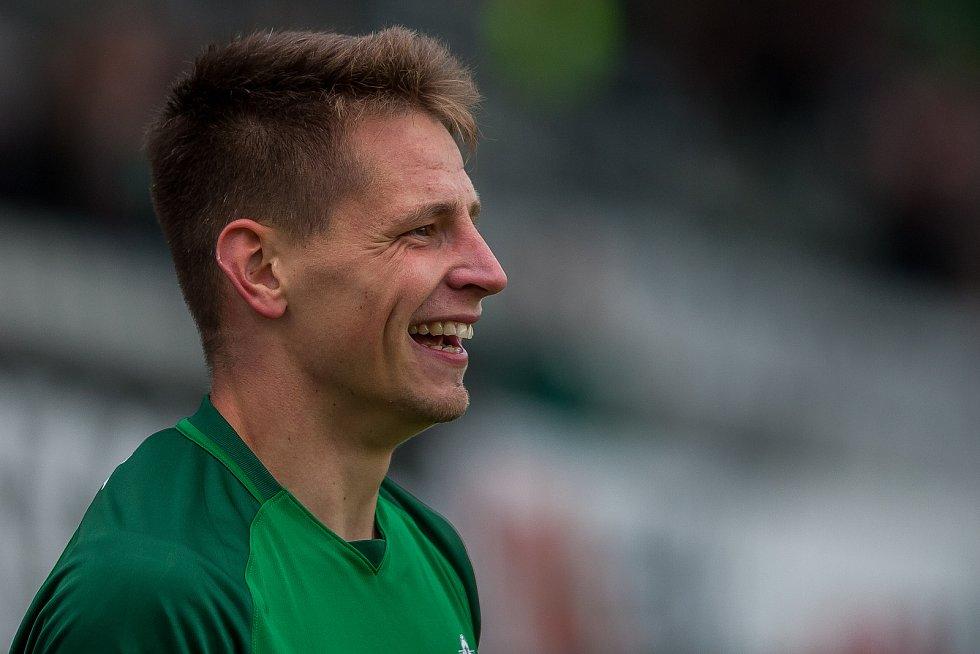Zápas 11. kola první fotbalové ligy mezi týmy FK Jablonec a FC Slovácko se odehrál 7. října na stadionu Střelnice v Jablonci nad Nisou. Na snímku je Lukáš Masopust.