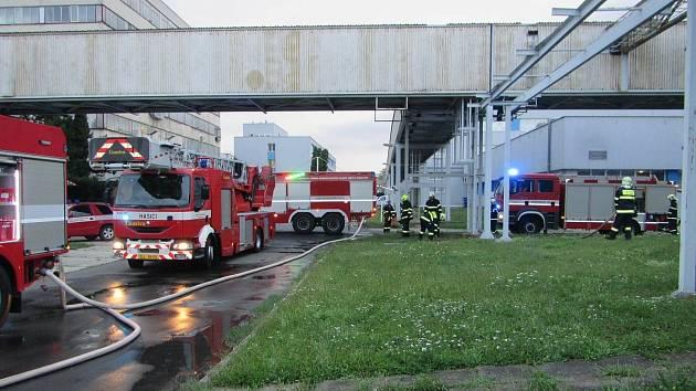 Požár galvanovny v Uherském Hradišti