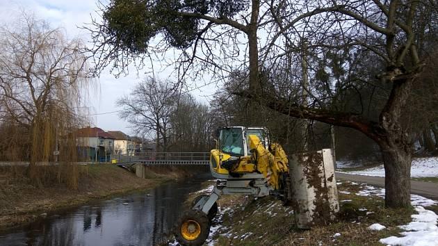 Povodí Moravy provádí čištění řeky Olšavy v Bojkovicích od soutoku s potokem Koménka po splav na konci města.