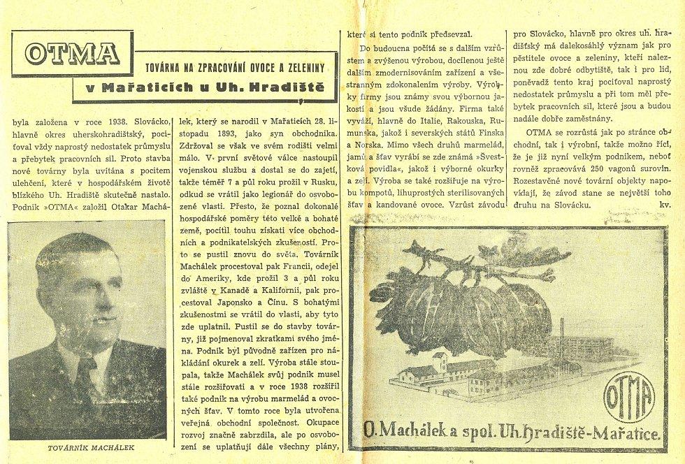 Novinový článek o společnosti Otma z roku 1947.