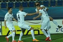 1. FC Slovácko - FK Teplice. Jaroslav Diviš (vpravo) slaví. Radují se i Marek Havlík (vlevo) a Vlastimil Daníček (č. 14)