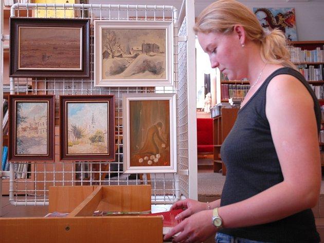 Výstava obrazů Františka Němce v knihovně v Babicích.