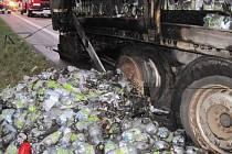 Požár kamionu u Veletin.
