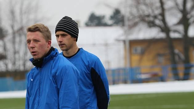 Fotbalisté Slovácka absolvují kondiční soustředění v Uherském Brodě. Na snímku Tomáš Ťok a Lukáš Křivánek.