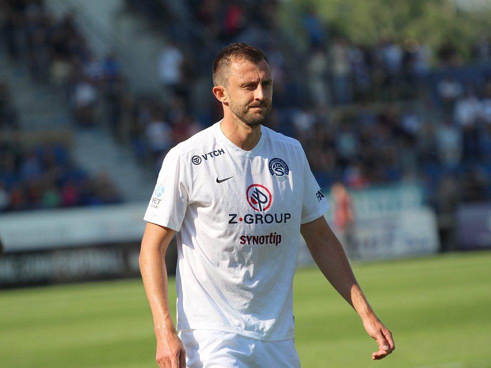 Zkušený stoper Slovácka Jiří Krejčí (na snímku) nastoupil na jaře v ligovém zápase vůbec poprvé.