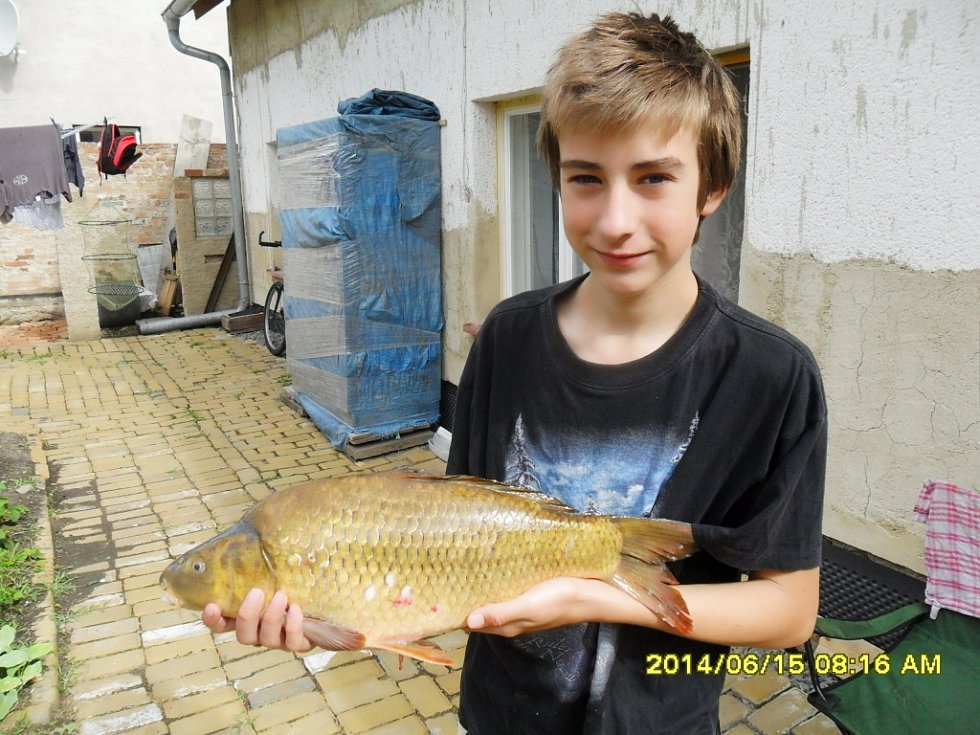 Soutěží číslo 99 – Daniel Holub, kapr 56 cm, 3,5 kg.