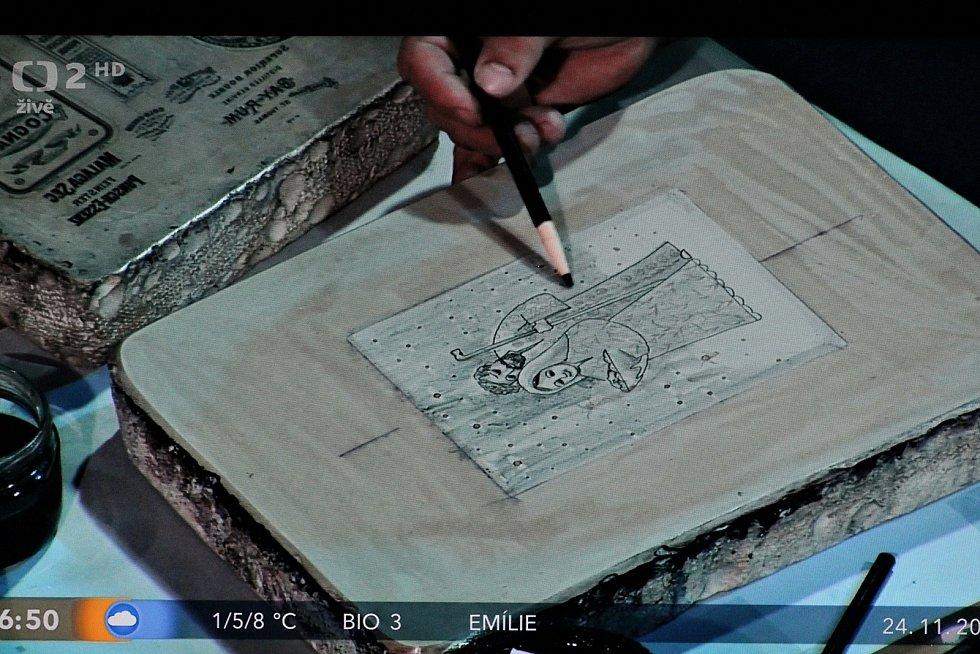 Známý výtvarník a litograf František Pavlica z Hroznové Lhoty dostal pozvání do programu Dobré ráno na ČT2.