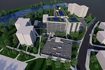 Vizualizace budoucí výstavby v uherskohradišťské Staré Tenici zachycuje nový panelový dům rezidence Kotelna, ale i parkovací třípodlažní objekt.