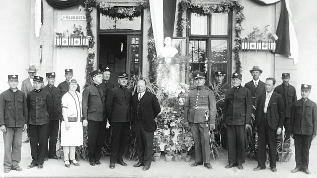 Bojkovské nádraží vítá Tomáše G. Masaryka, 1933.