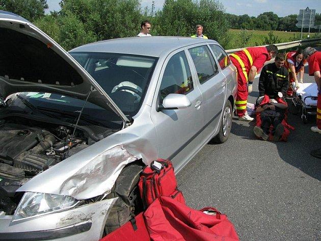 Dopravní nehoda na obchvatu u Uherského Hradiště.