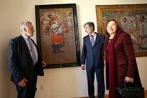 Velvyslanci Livie Klausová a Peter Weiss v galerii Joži Úprky v Uherské Hradišti.
