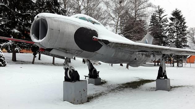 Horní Němčí v únoru 2021. Stíhačka MIG-19.