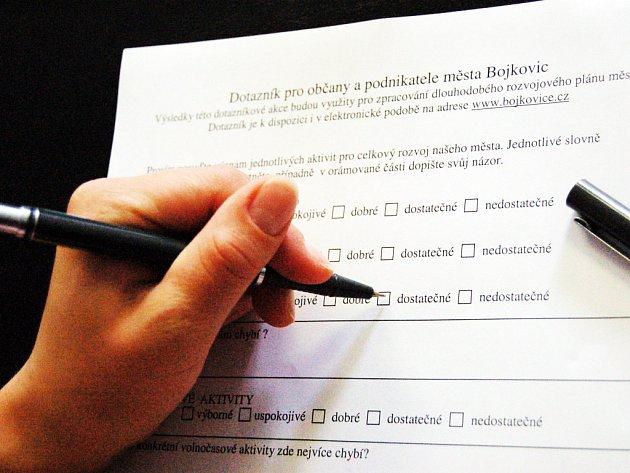 Vyplněné dotazníky poslouží úředníkům pro vypracování plánu rozvoje Bojkovic.