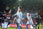 Fotbalisté Slovácka (v modrých dresech) ve 22. kole FORTUNA:LIGY prohráli na Slavii 0:4.