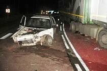 Dopravní nehoda u Starých Hutí v Chřibech.