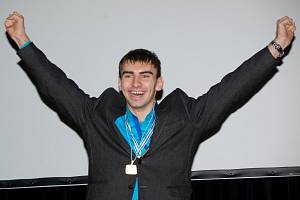 Takhle se Michal Plocek začátkem února 2013 radoval z titulu nejlepšího sportovce města Uherské Hradiště