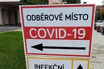 Testování na COVID-19 v Uherskohradišťské nemocnici.