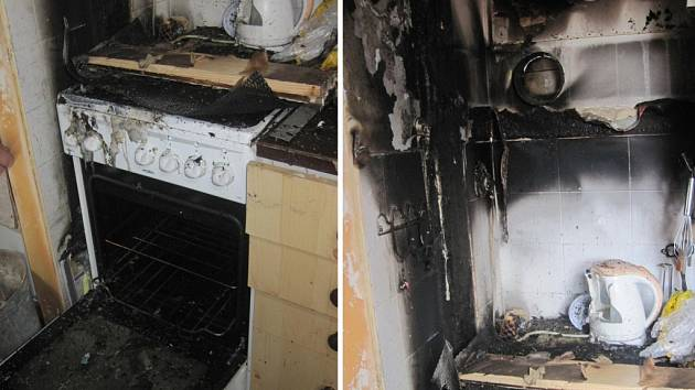 V kuchyni v podkroví rodinného domu začalo hořet.