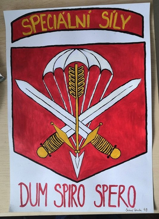 Malba Veroniky Šáchové z 9.B - znak 601. skupiny speciálních sil.