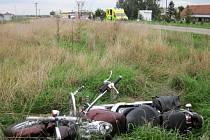 Srážka motorkáře s osobní autem u Polešovic