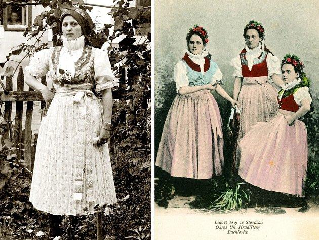 Zleva: Marie Spáčilová z Buchlovic v kroji kolem roku 1910 a Děvčata z Buchlovic v krojích, fotografie z konce 19. století.