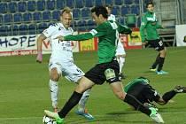Uherské Hradiště Fotbal Gambrinus liga 1. FC Slovácko - FK Baumit Jablonec. Zleva Jakub Petr Dabiel Silva Rossi.