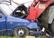 Nehoda se stala před půl devátou vUherském Brodě vulici Prakšická.