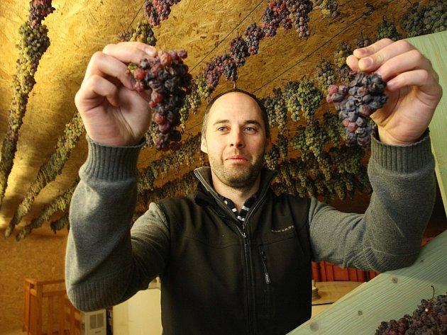 Slámové víno ve vinařství U kostela v Polešovicích.