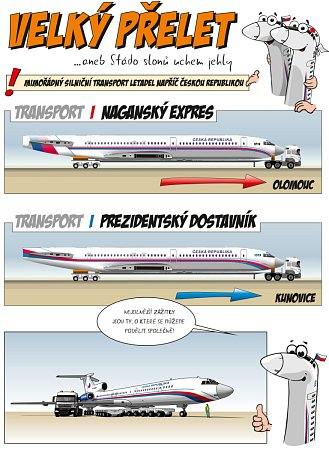 Jakou podobu bude mít červnová přeprava bývalého prezidentského speciálu, napovídá nákres.