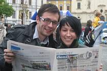 Den s Deníkem navštívili také herci Slováckého divadla Josef Kubáník a Jitka Josková.