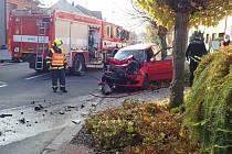 Dva zraněné si v pátek 6. listopadu odpoledne vyžádala  srážka osobních automobilů Škoda Fabia a BMW uprostřed Dolního Němčí.