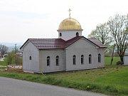 Pravoslavný kostel v Uherském Brodě v sousedství hvězdárny před dokončením.