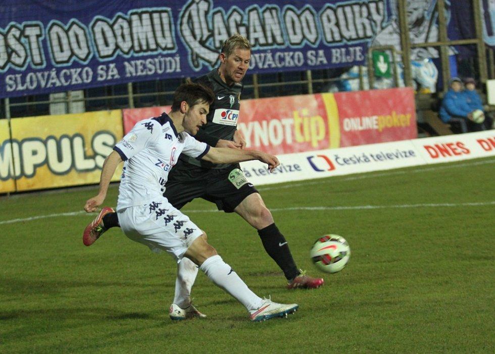 1. FC Slovácko - FK Jablonec  Zleva Michal Trávník a Tomáš Hübschman.