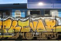 Neznámý pachatel poškodil v nočních hodinách z neděle 4. listopadu na pondělí 5. listopadu dva odstavené vozy vlakové soupravy.