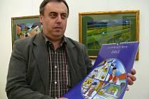 Jan Botek na vernisáži loňské výstavy v Uherském Ostrohu.