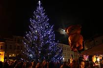 Masarykovo náměstí v Uherském Hradišti od pátku 5. prosince zdobí devítimetrový smrk, nesoucí jméno Marek.