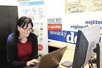 Ředitelka Nadačního fondu dětské onkologie Krtek Irena Korvasová Čánská při on-line rozhovoru v redakci Slováckého deníku.