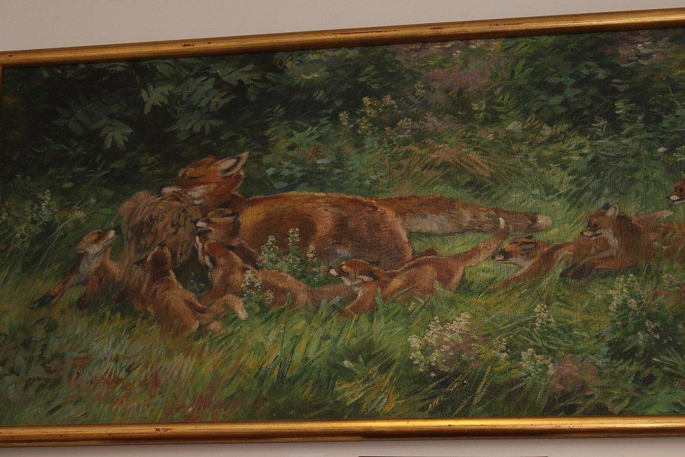 Monumentální malba Stanislava Lolka s názvem Liščí rodina.