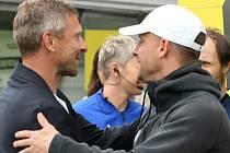 Slovácko proti Bohemians. Kouči obou týmů - Martin Hašek a Martin Svědík