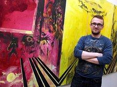 Výstava Martina Salajky v galerii Reduta v Uherském Hradišti. Na snímku autor M. Salajka.