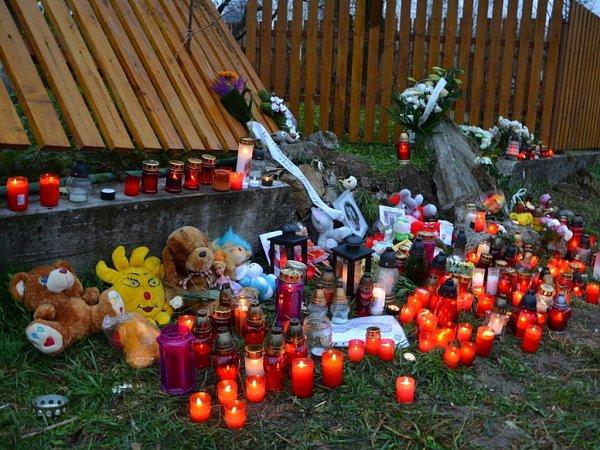 Na místě sobotního neštěstí vpondělí hořely desítky svíček. Lidé sem přinesli ipanenky, plyšové hračky či vzpomínkové fotografie, zástupci lopenického obecního úřadu zase smuteční kytici.