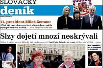 Detail titulní strany sobotního vydání Slováckého deníku.