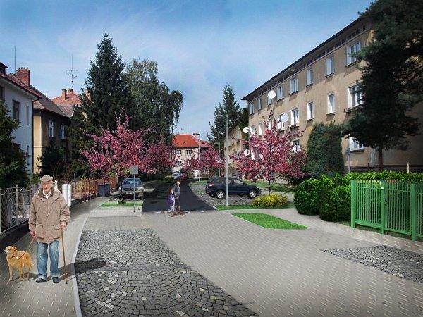 Vizualizace ulice Jana Žižky po úpravě.